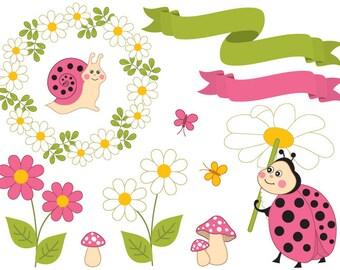 50% OFF SALE Summer Ladybug Clipart - Digital Vector Ladybird, Daisy, Wreath, Snail, Ladybug Clip Art