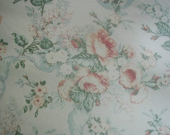Vintage  Fitted Bed Sheet, Queen Size, Full Blown Climbing Roses, Blue Hydrangeas with Blue Ribbons, 100% Cotton
