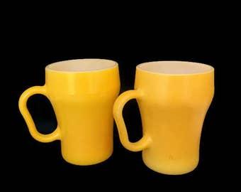 Vintage Fire King Soda Mug Anchor Hocking Milk Glass Yellow Cups Set of 2 Mid Century 1950s