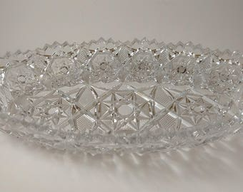 Fostoria glass signed Rosby pattern celery dish
