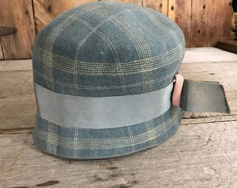 Gray Blue Wool Flapper Cloche Hat, Made in England, Downton Abbey Style
