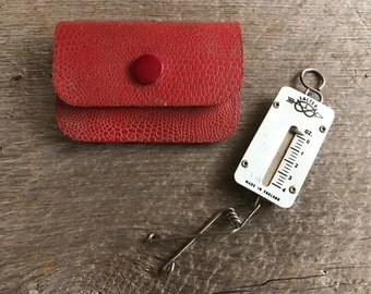 Miniature Salter Scale, Made in England, Pocket Balance, ca 1950s, Leather Case