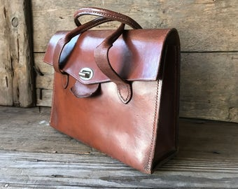 1940s Rustic English Brown Leather Handbag, Top Carry Straps, Handcrafted in England, Chestnut Brown