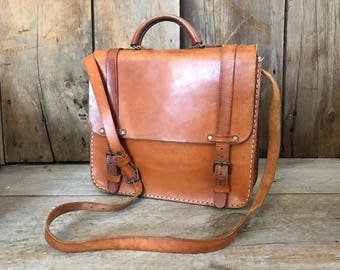 Belted Leather Messenger Mini Briefcase, Made in England, Handbag, Satchel, Train Case, Crossbody