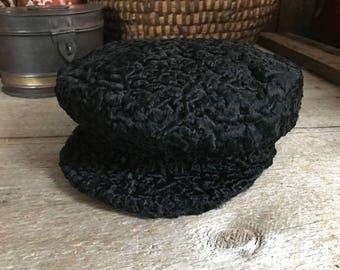 Russian Astrakhan Hat, Black Persian Lambs Wool Fur, Vintage
