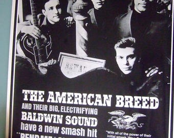 """Vintage Rock Poster """"The American Breed"""" 1960's Baldwin Instruments promo item rare"""