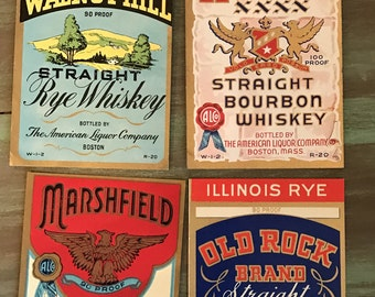 Whiskey Labels / 4 Vintage Whiskey Bottle Labels Walnut Hill, American, Old Rock & Marshfield Brands Great for Altered Art, Tags, Journals++