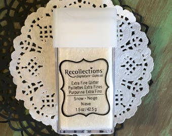 Extra Fine White Glitter 4.25g 1.5 oz. Great for Mixed Media, Altered Arts, Journals, Crafts, Tags, Cards