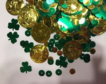 bag of  shamrock and coin sequins / confetti, 10-20 mm (35)