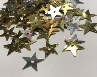Large gold and silver color 5 point star sequins / confetti, 13 mm (36)+