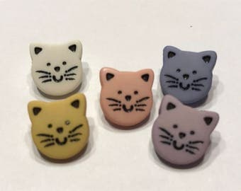 5 piece small cat face button mix, 12 mm (B3)