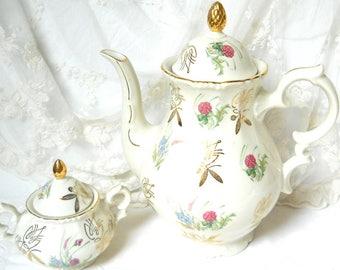 SALE: vintage floral tea set porcelain tea set floral tea set german teapot vintage  coffee pot floral tea set Bavarian