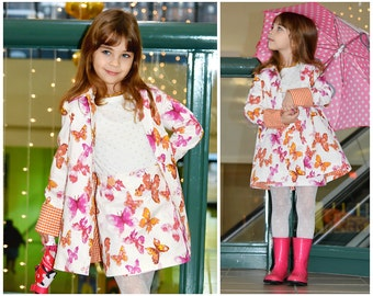Pea Coat Dakota - PDF Sewing Pattern, video instructions, collar, girls jacket, jacket, swing coat, lined collar, pdf sewing pattern