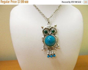 On Sale Vintage Faux Turquoise and Rhinestone Owl Necklace Item K #742