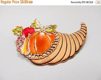On Sale Retro Copper Enameled Cornucopia Pin Item K # 3228