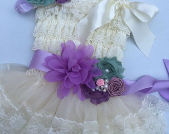45%off SALE Extra Full Flower Girl Lace Dress, Baby Doll Bridesmaid Girl Wedding, Birthday Girl, Sash Ruffle Lace Country Couture Style