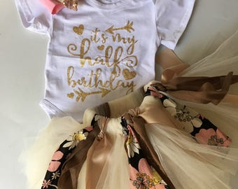 50%off baby girl half birthday outfit, baby tutu skirt, headband, girl cotton romper, baby half birthday photo.