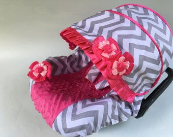 Baby Car Seat Cover Canopy, Infant Car Seat Cover Canopy, Chevron Chevy Pink, for Baby Girl, fit most Infant car seat
