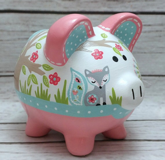 Personalized piggy bank mint and coral woodland animals for How to paint a ceramic piggy bank