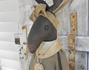 Primitive Rabbit-Primitive Black Rabbit-Garden Bunny-Spring Decoration-Rabbit Doll--tbu 1129