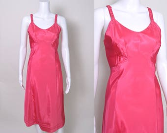 Vintage 1940s Slip 1950s 40s Hot Pink Rayon Pin Up Lingerie