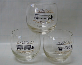 Mid-Century Roly Poly Cocktail Glasses Set of 3 Atomic Black and Gold Semi Truck