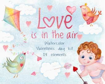 Valentines day watercolor clipart. Cupid arrow and love birds clipart. Love is in the air. valentine clipart. Rusteam