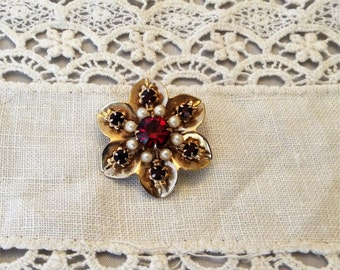 Vintage Brooch Pin, Ruby Red Rhinestones , and Faux Pearls