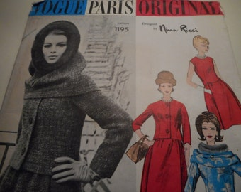 Vintage 1960's Vogue 1195 Paris Original Nina Ricci Dress, Jacket and Hood Sewing Pattern, Size 14 Bust 34