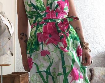 Lilly Pulitzer Print Halter Cotton Sundress-Maxi Pink-Neon Green-Princess-Dress-Beach Pajamas-Vintage 90's 1990s-Handmade-OOAK-Gown