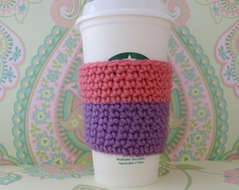 Crochet Reusuable Purple and Pink Cup Cozy/Sleeve, Eco Friendly Cup Cozy/Sleeve - Ready to Ship