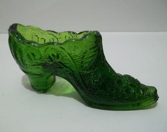 Green Glass Vintage Ladies Shoe Slipper Mother's Day