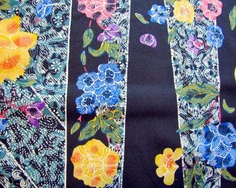 Black Batik Floral Ethnic Fabric Cotton, Asian, Indian, Indonesian, Batik, Black, Block Print, Colorful, Floral, Quilter Weight, 1980, 1970