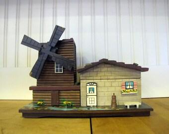1960's Wooden Windmill Jewelry Music Box, Jewelry Box, Music Box, Wood, Windmill, Novelty, Made in Japan, Folk, Dutch, Kitch, 1970's