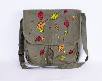 Upcycled Vintage Hand Painted Military Bag with Autumn Leaves, Green Cotton Canvas Messenger Bag, Crossbody Bag, Fall Leaves