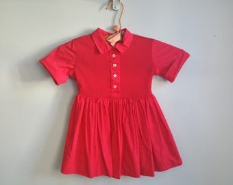 1950's Candy Apple Dress - Vintage 50s Toddler Red Dress - Size 3 Girls Dress -