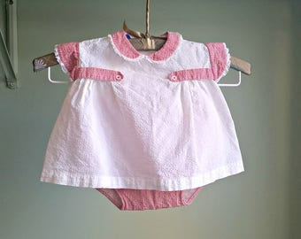 1950s Red Gingham Play Suit - 2 Piece Summer Set - 12 Mos