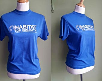 1980s Royal Blue Habitat For Humanity Tee - Vintage Charity Tee - Small/Medium