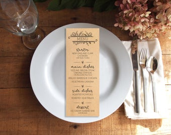 Wedding Menu, Dinner Menu, Printable Menu, Printed Menu, Kraft Paper Menu, Rustic Wedding Menu, Shabby Chic Wedding