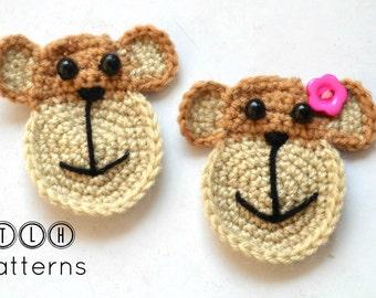 crochet applique pattern, crochet monkey pattern, applique monkey, monkey face applique, pattern no 76