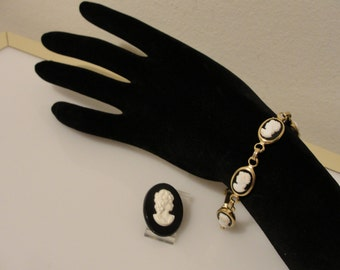 "black and white cameo 8"" long bracelet & pin brooch oval used condition"