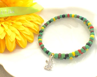 cactus bracelet, summer jewelry, gift idea for her under 15, affordable gifts