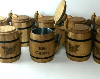 Wooden Beer mug with cover , 0,65 l (22oz) , natural wood, stainless steel inside,groomsmen gift,n48