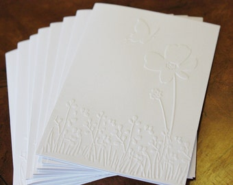 Spring flower card set, set of eight embossed cards in white, perfect for birthdays, thank you, sympathy, and general occasion