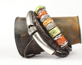Leather wrap bracelet, Brown leather bracelet, Silver sliders, Porcelain beads, Magetic clasp, CarolMade L107