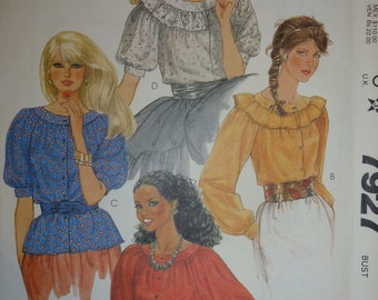 Vintage McCall's Pattern 7927 for Misses' and Young Junior/Teen Tops  Size 12 Bust 34