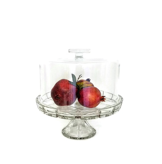 """Cake Dome Crystal Pedestal Crisscross Pattern Large Glass Coche Wedding Cake Stand Cupcake Stand-""""Ships International"""" Email For Rates"""
