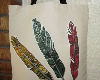 Feathers Large Grocery Bag Tote Canvas