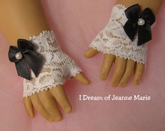FINGERLESS LACE GLOVES (shorter version) with Black bowss for American Girl Dolls for Caroline, Regency, Elizabeth