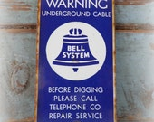 antique original bell system underground cable sign / bell telephone advertising / double sided porcelain